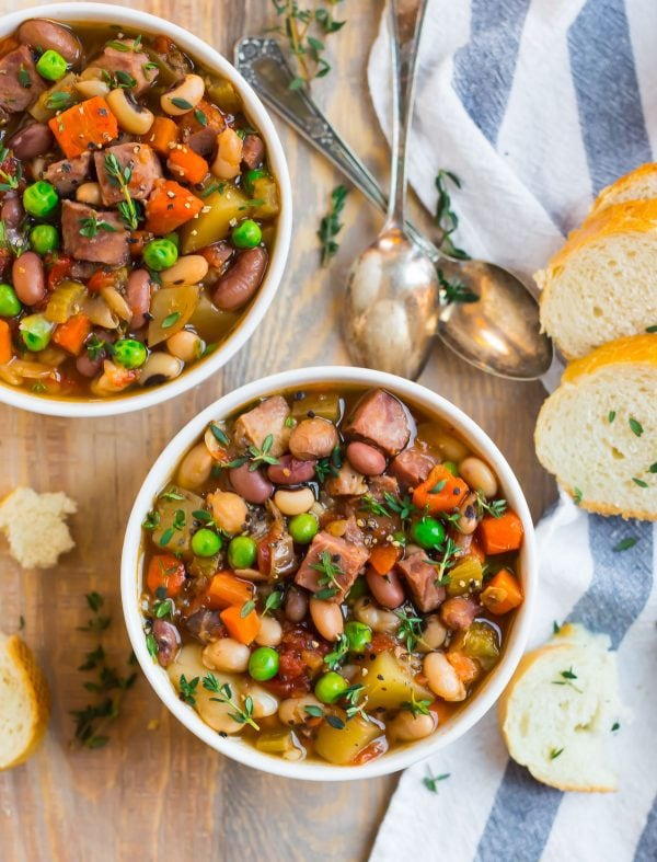 Two bowls of the best ever crockpot ham and bean soup