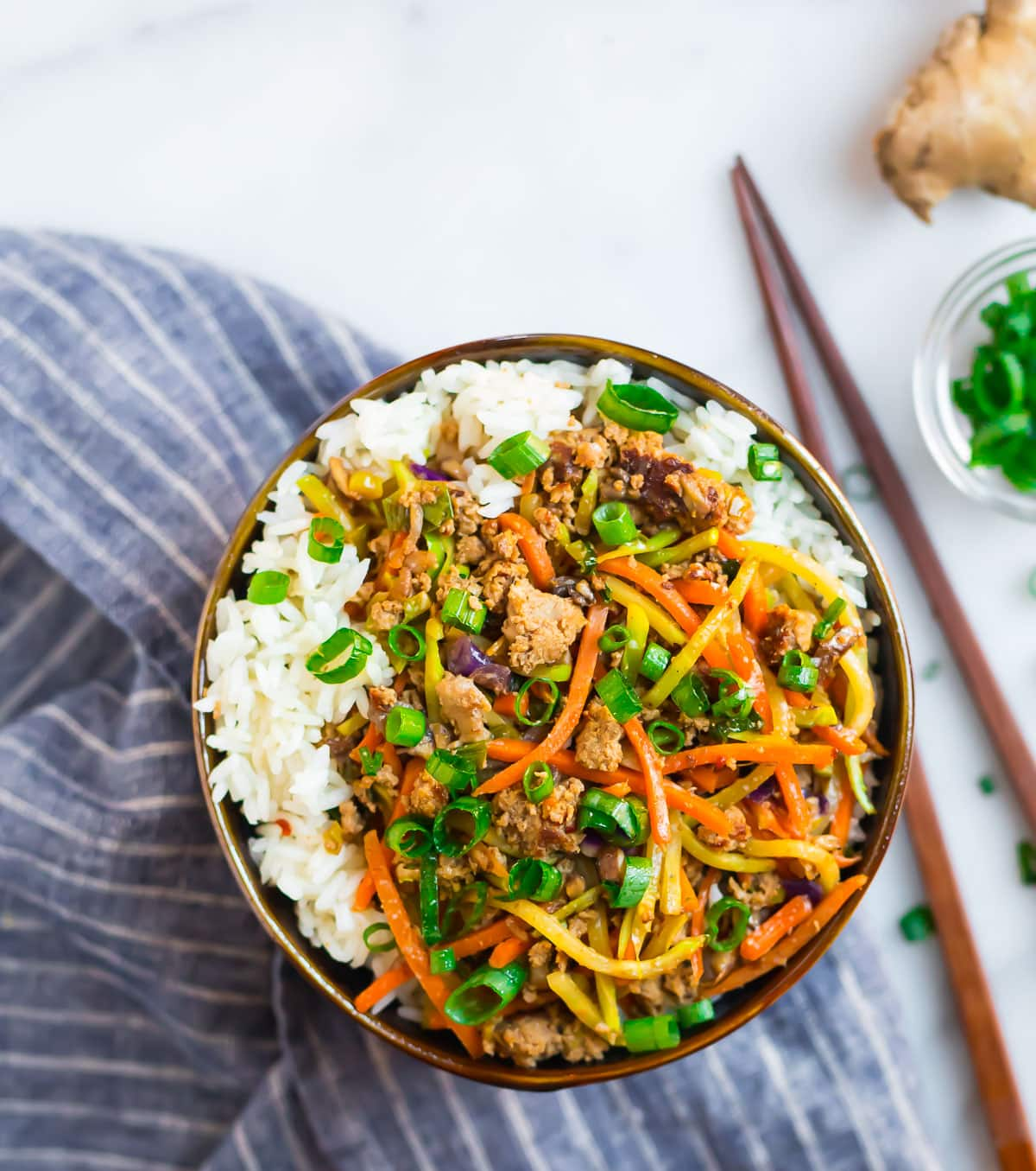 Easy and delish egg roll in a bowl topped with green onions