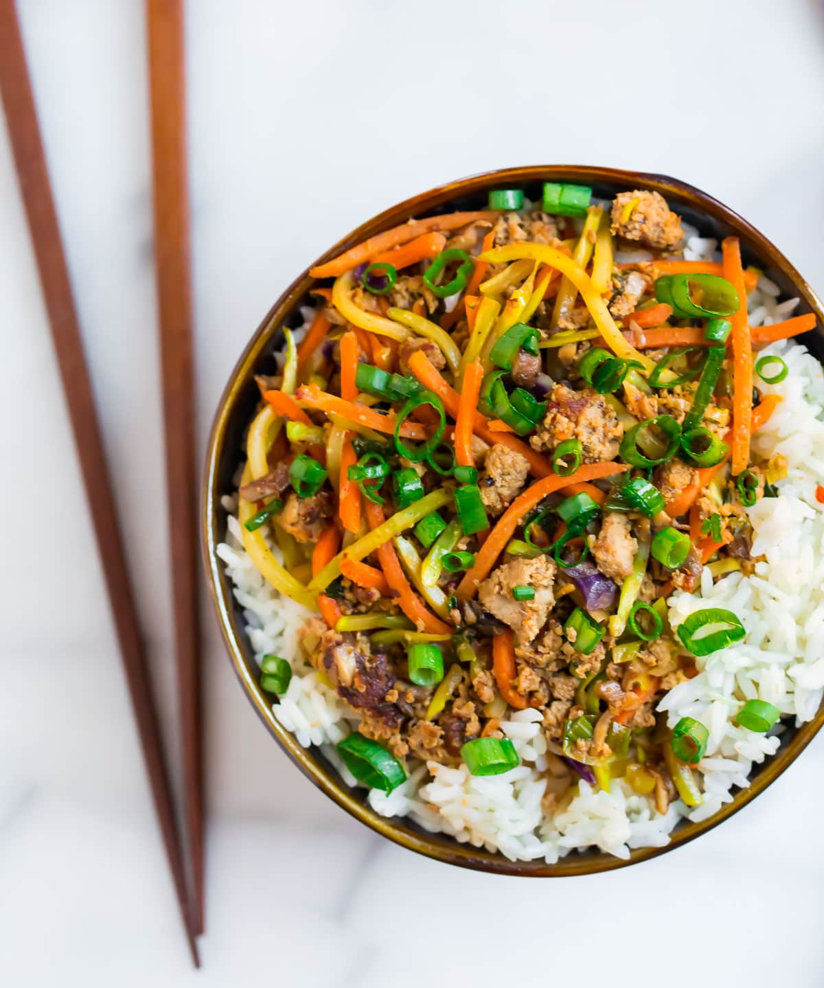 Rice, ground turkey, and veggies in a bowl that tastes like an egg roll