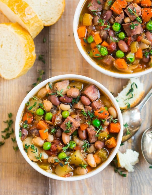 Two bowls of slow cooker ham and bean soup