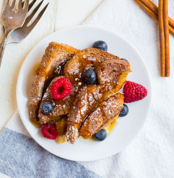 A plated slice of healthy overnight French toast casserole