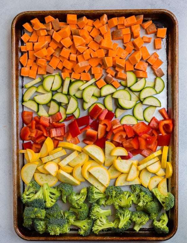 Chopped sweet potato, zucchini, red bell pepper, summer squash, and broccoli