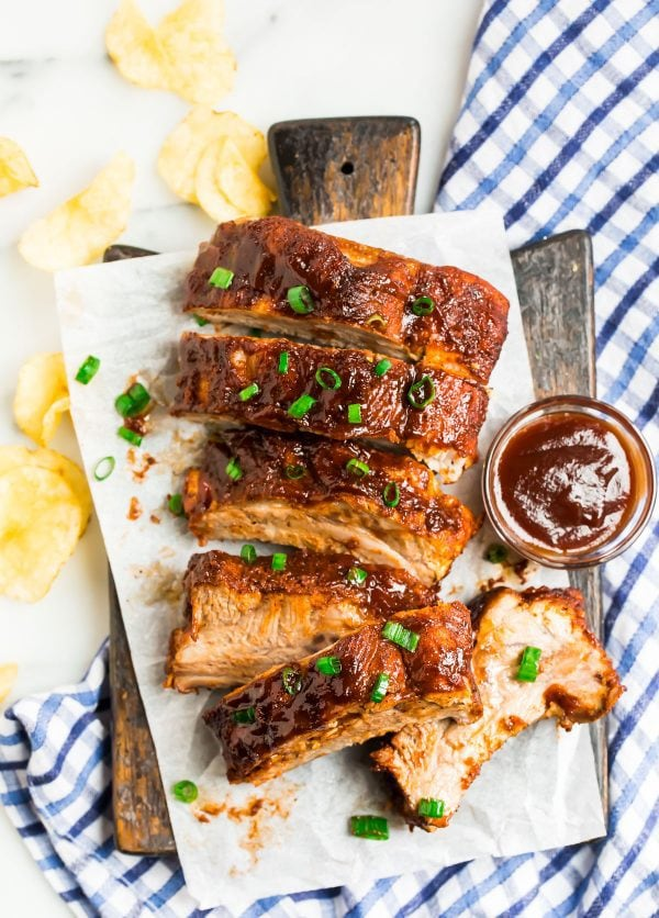 Tender Instant Pot ribs served on a board