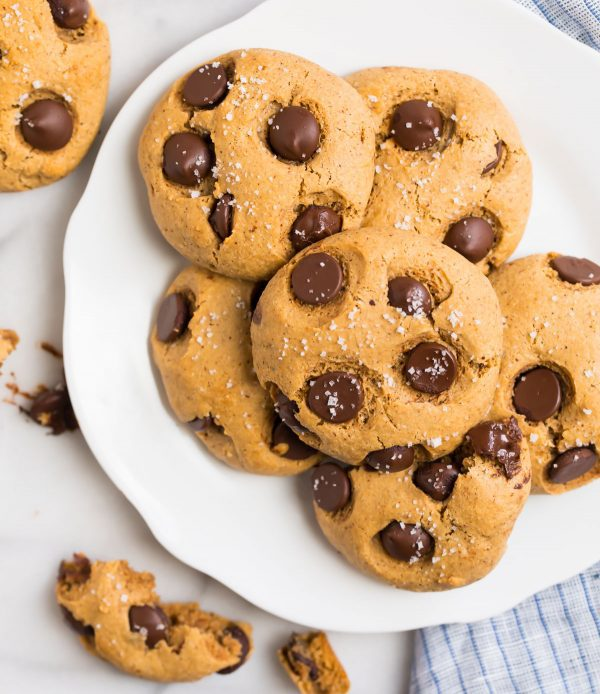 A plate of soft Almond Flour Cookies with Chocolate Chips