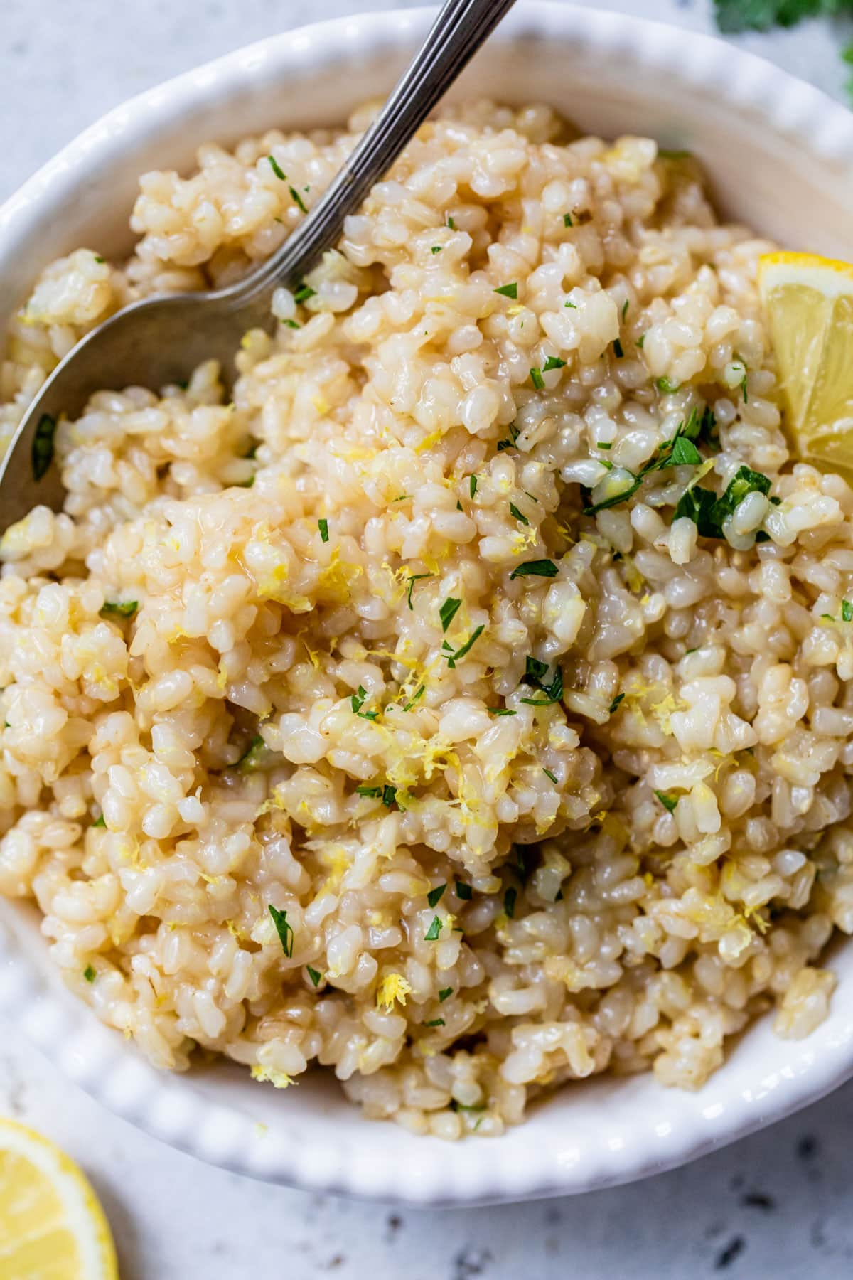 Easy and Healthy Creamy Lemon Rice with Herbs