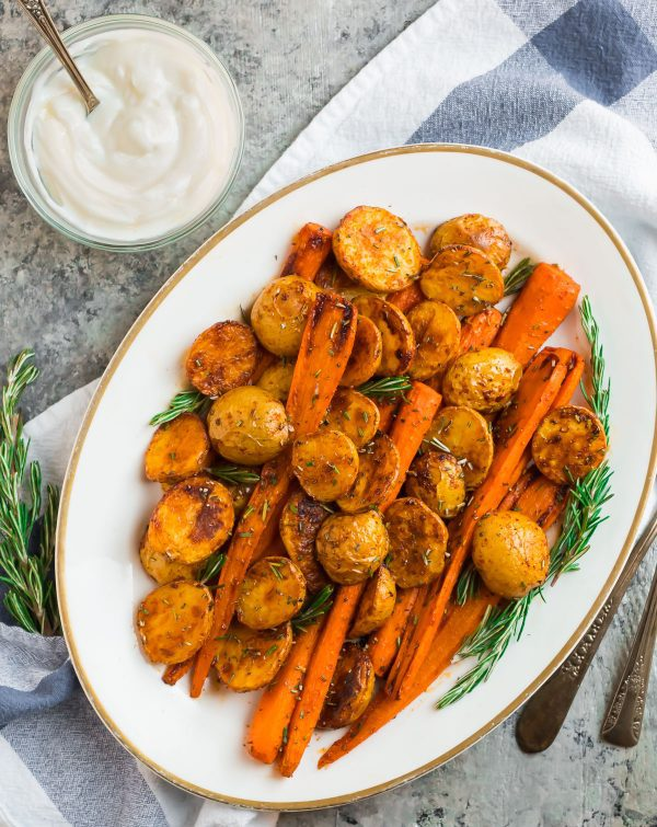 A platter of Roasted Potatoes and Carrots