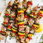 Skewers of Greek Grilled Chicken Kabobs with Vegetables