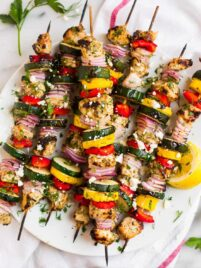 Skewers of Greek Grilled Chicken Kabobs with Vegetables
