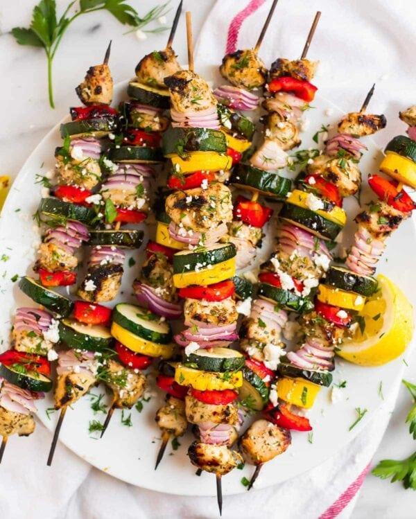 A platter of Grilled Mediterranean Chicken Kabobs