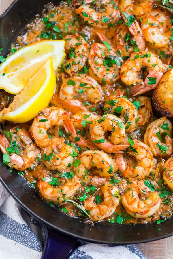 A close-up of Garlic Butter Shrimp in a skillet