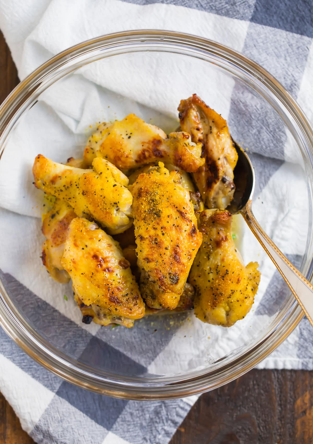 Lemon pepper wings in a bowl