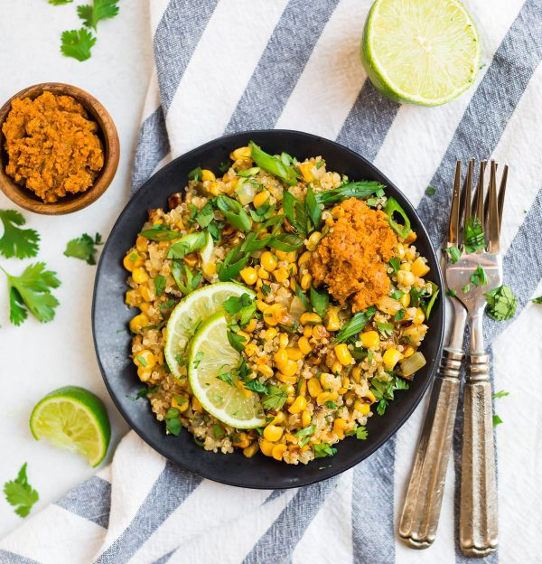A plate of Healthy Mexican Corn Salad with Quinoa