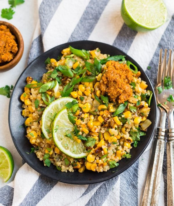 A plate of Mexican Street Corn Quinoa Salad