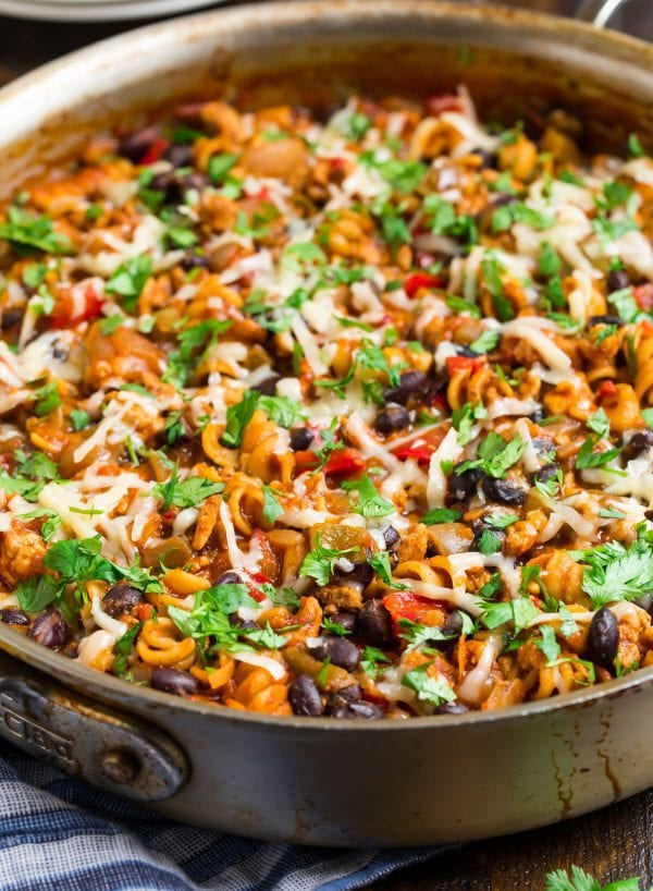 A skillet of one-pan Taco Pasta