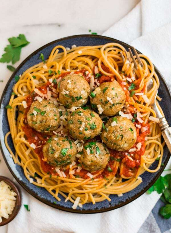 Baked turkey meatballs and spaghetti with sauce on a plate