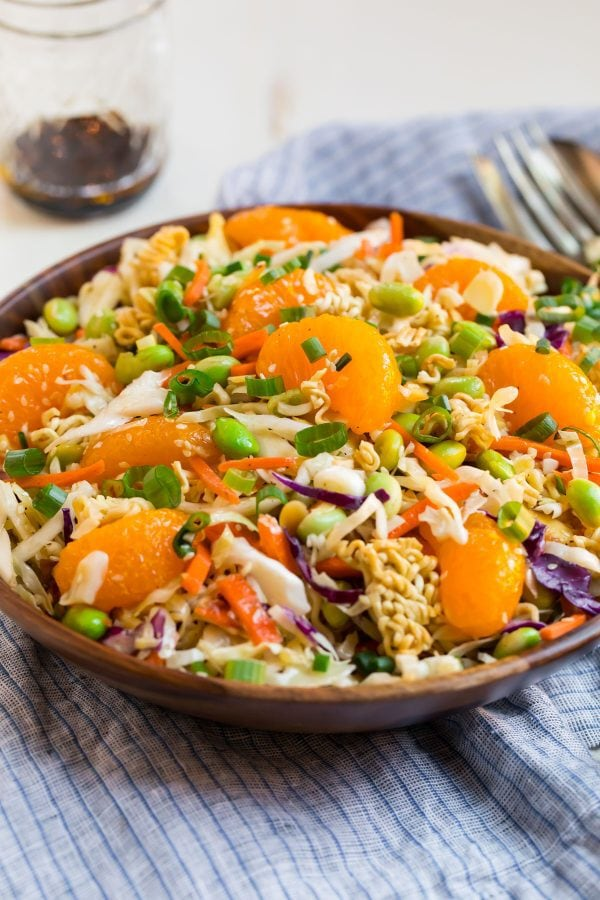 A bowl of Ramen Salad with cabbage, mandarin oranges, and ramen noodles