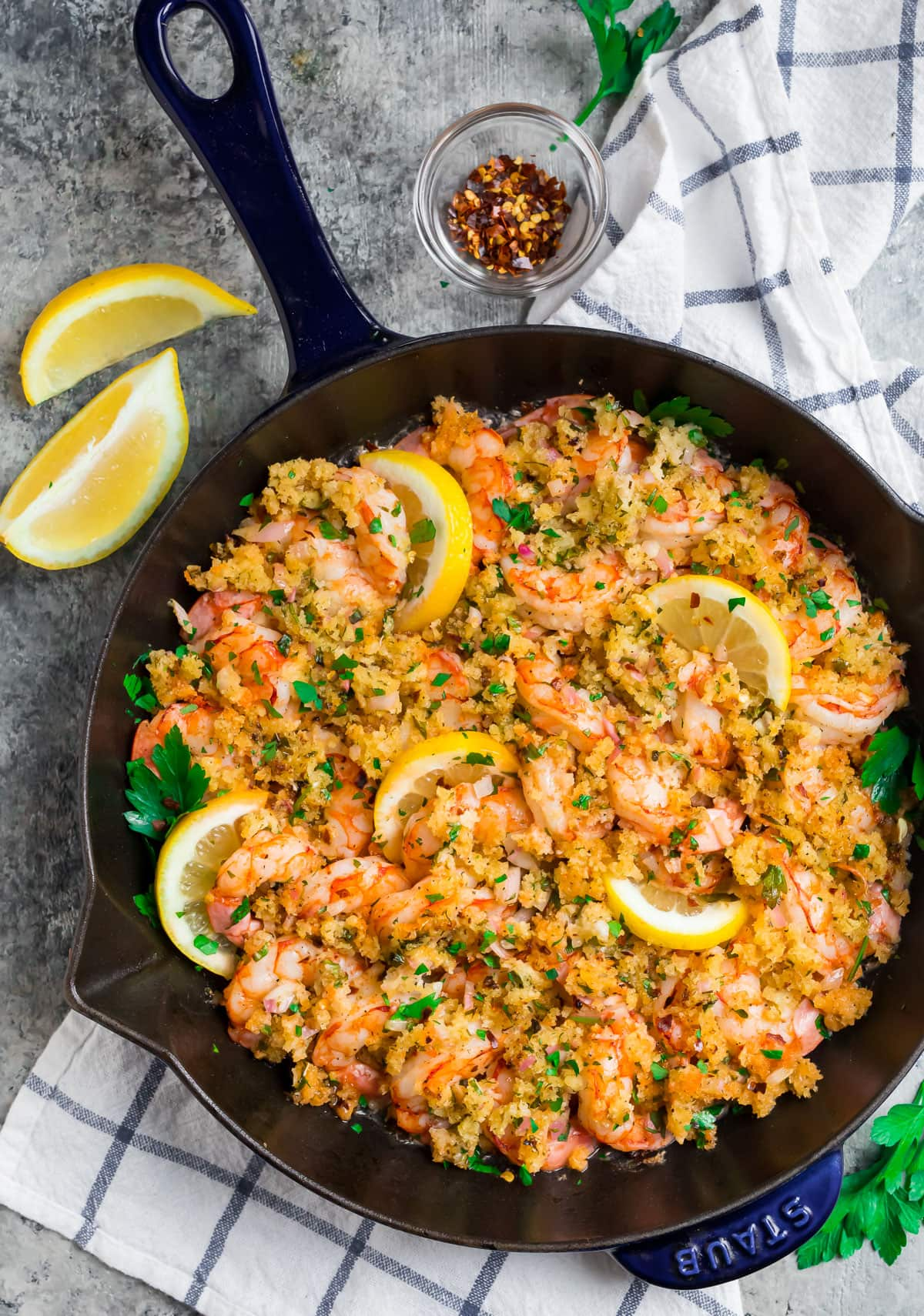 Baked Shrimp Scampi with red pepper flakes