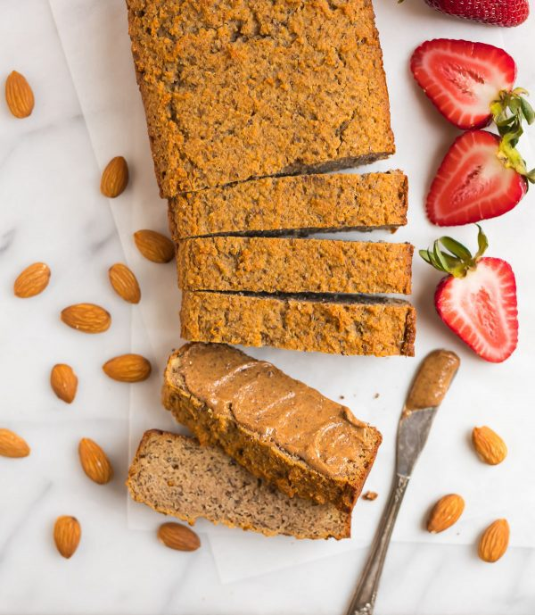 Almond Flour Bread sliced and spread with almond butter