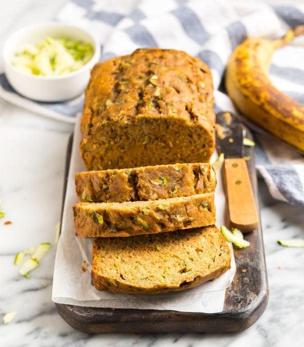 A sliced loaf of Zucchini Banana Bread