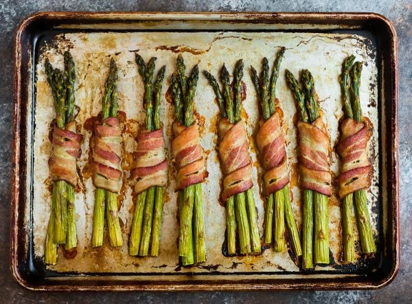 A sheet pan of Bacon Wrapped Asparagus