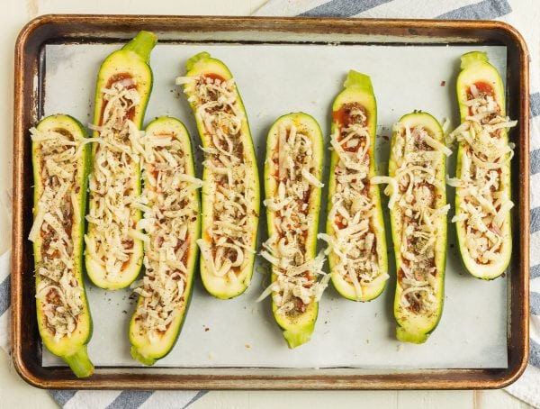 Zucchini Pizza Boats topped with cheese