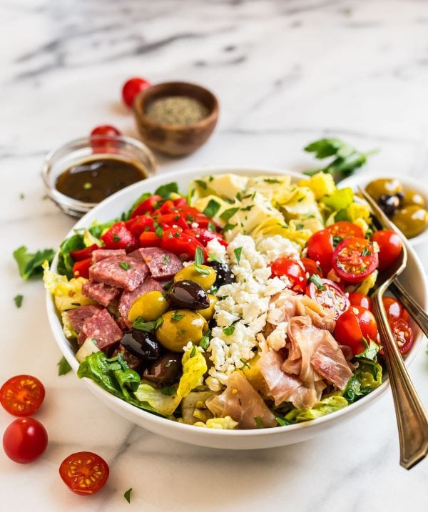 A white bowl with Italian Antipasto Salad
