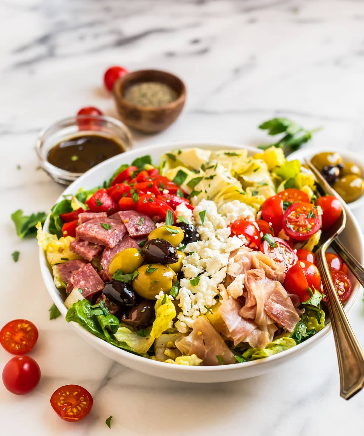 A white bowl with Italian Antipasto Salad