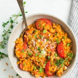 Farro Risotto with Tomatoes, basil, and Parmesan