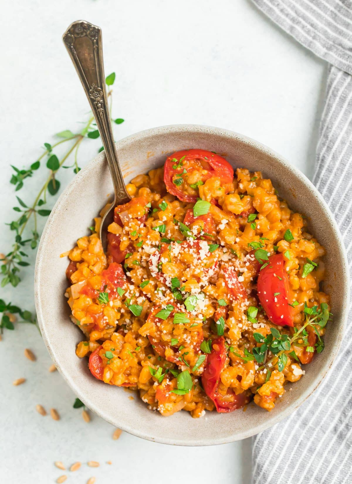 Farro Risotto with Tomatoes, basil, and Parmesan in a bowl with a spoon