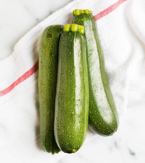 Three small green zucchini for Roasted Zucchini