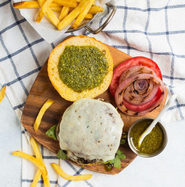 A deconstructed Portobello Mushroom Burger