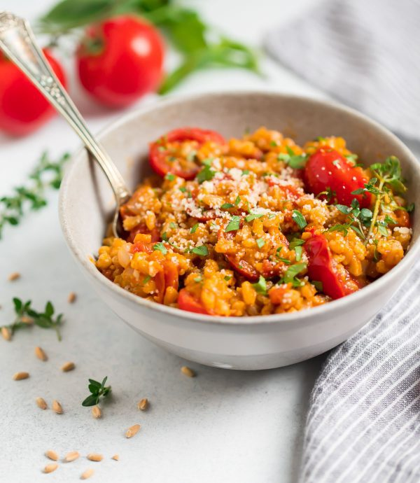 Farro Risotto. A side dish made easy with less stirring than traditional risotto!