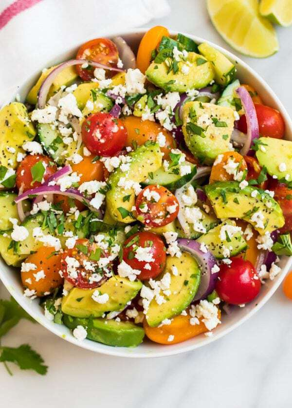 Cucumber Tomato Avocado Salad with feta and lime dressing