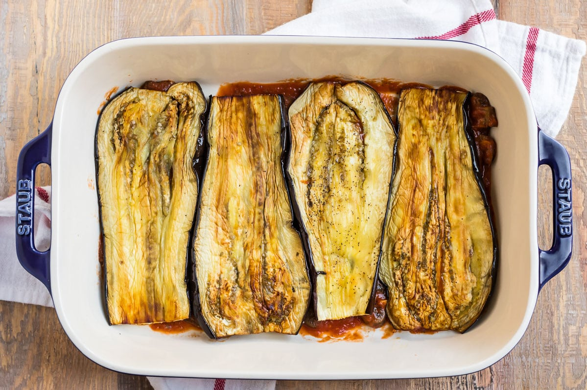 Layers of roasted eggplant and sauce in the Eggplant Lasagna recipe.