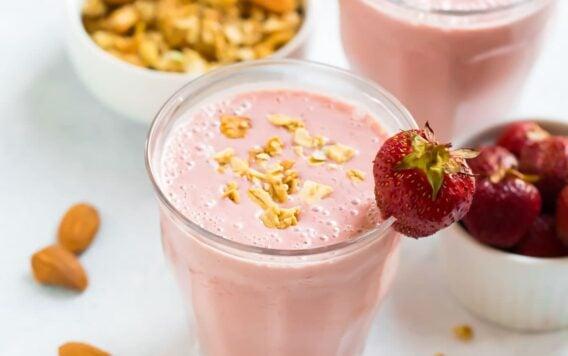 Healthy Strawberry Smoothie with almond milk, yogurt, and honey