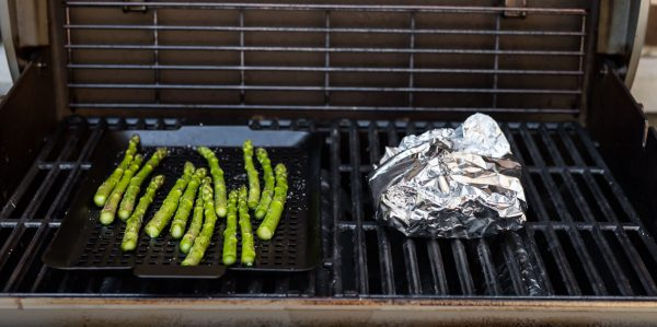 Grilled asparagus and Grilled Salmon in Foil cooked to 145 degrees on the grill