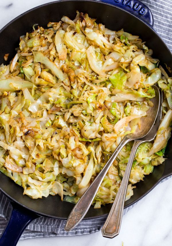 Good for you Sauteed Cabbage in a skillet made with apple cider vinegar for dinner