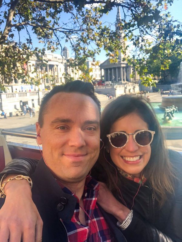 A selfie picture of two people in London