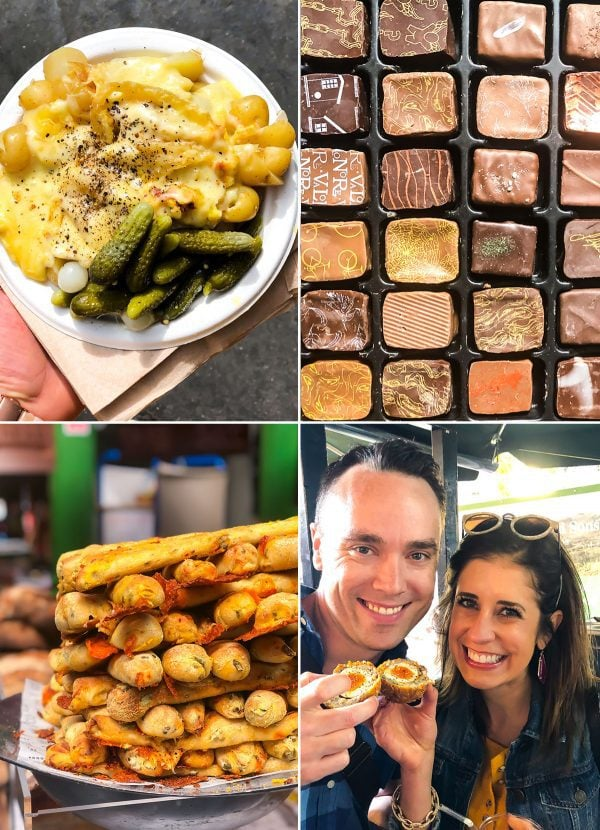 A collage of different food items from around London