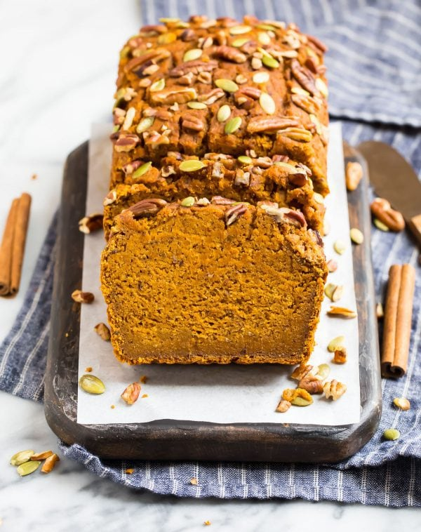 Dairy free Vegan Pumpkin Bread that's low in calories and moist