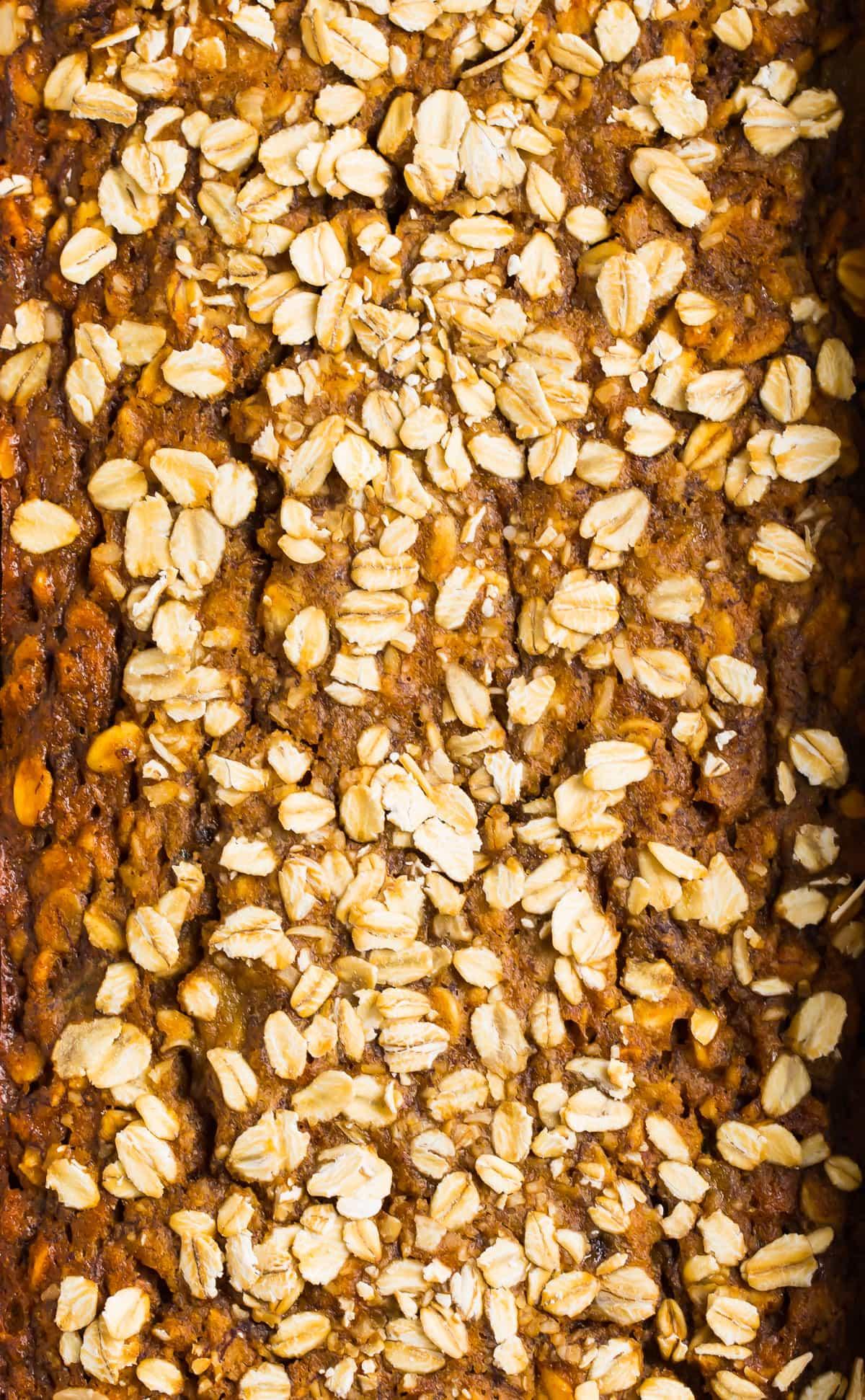 Healthy oatmeal banana bread with oats on top