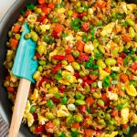 The World's Best Homemade Fried Rice in a Skillet with Vegetables and Eggs