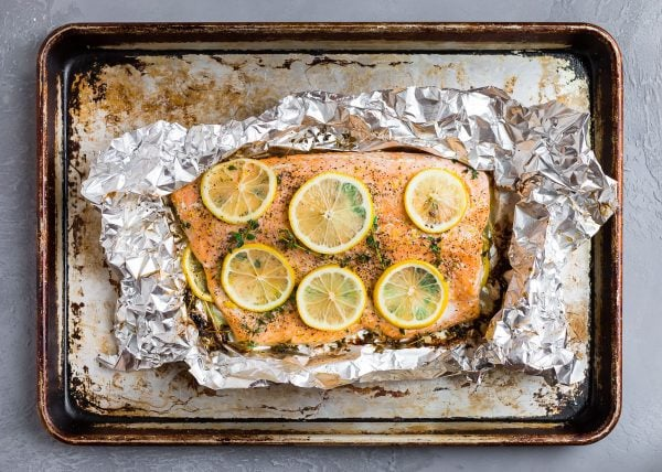 Easy and perfectly cooked lemon pepper salmon in aluminum foil with skin on