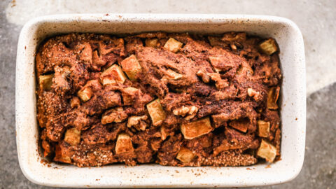 a pan of freshly baked cinnamon apple bread from scratch