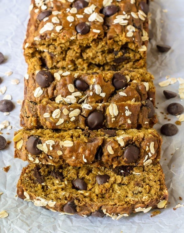 PERFECT Pumpkin Chocolate Chip Bread. So moist and tastes just like fall! A healthy pumpkin bread recipe made with whole wheat flour, oats and coconut oil. Feels great and tastes even better!
