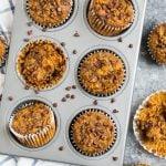 A muffin tin of almond flour pumpkin muffins