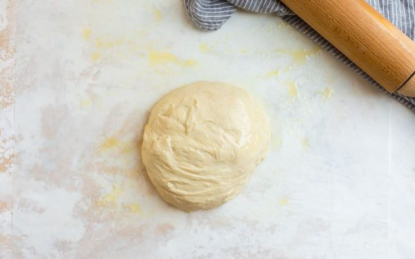Ball of Pizza Dough for Making Homemade Burrata Pizza