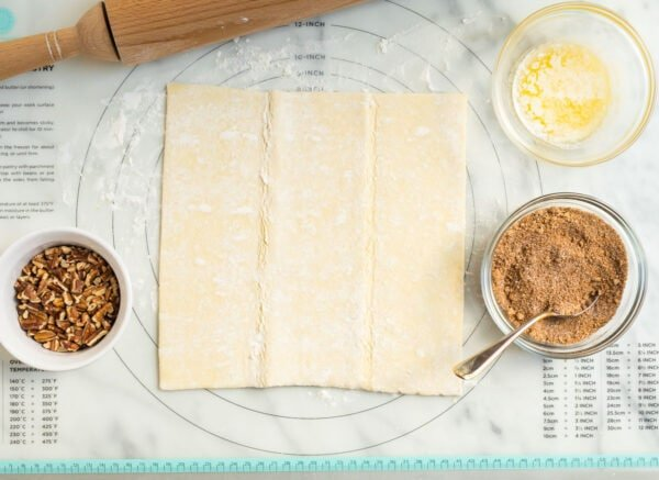 Ingredients for easy puff pastry cinnamon rolls