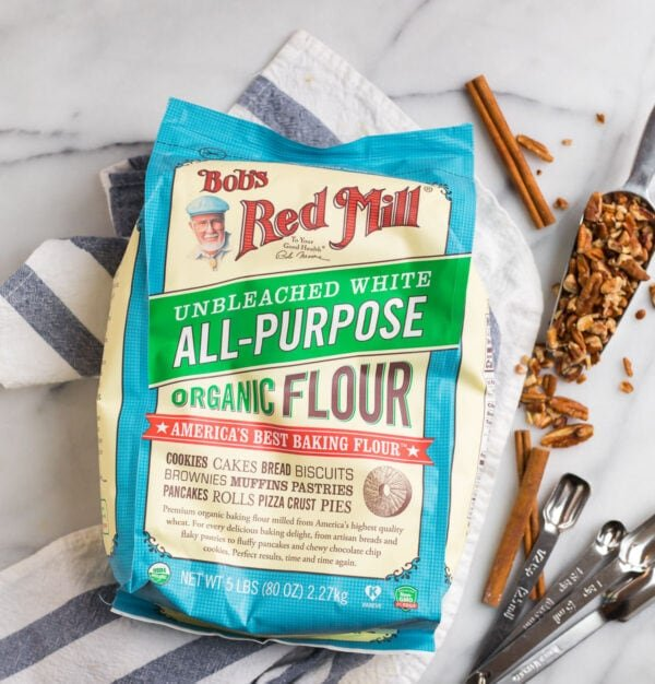 A bag of all-purpose flour for making gooey pecan pie cobbler