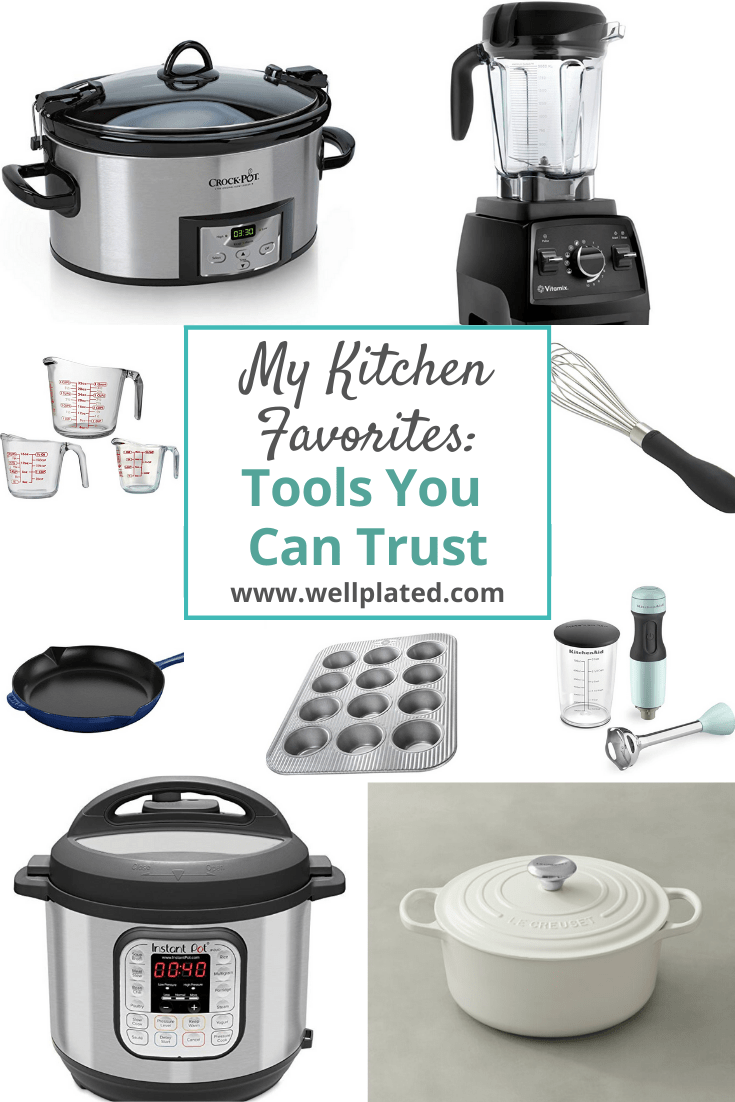 A collage of Erin Clarke's favorite kitchen tools
